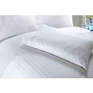 Juego de cama con funda nórdica de algodón egipcio satinado, diseño de rayas, algodón egípcio, Blanco, matrimonio