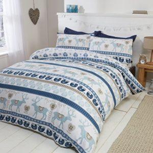Christmas Hearts 100% Brushed Cotton Navidad corazones 100% franela de algodón edredón funda de edredón y funda de almohada ropa de cama juego de cama, azul/Multicolor, único