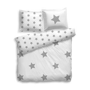 Juego de ropa de cama de estrellas F2F, 100 % algodón, blanco gris, 155 x 220 cm + 80 x 80 cm