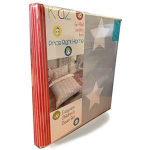 Funda de edredón y almohada con diseño de estrellas gris y blanco para cama doble