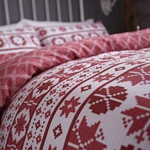 Catherine Lansfield Cl Oslo Red - Juego de Funda nórdica para Cama de 150 cm