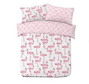 Dreamscene Juego de funda de edredón y funda de almohada, estampado animal (flamencos rosas sobre fondo gris),para cama doble/matrimonio.