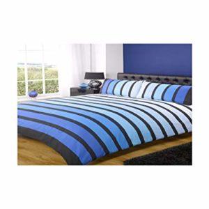 DOBLE Pacific Negro Azul Mezcla Algodón Funda nórdica rayas conjunto # Ohmio RH