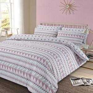 Dreamscene rosa juego de funda de edredón funda de almohada rebobinar geométrico ropa de cama, multicolor, cama individual/135x 200cm