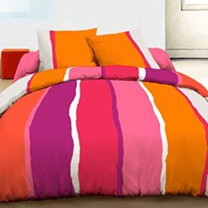 Home Passion 60507adornos de edredón 3piezas 57hilos Free Stripes algodón naranja 220x 240cm