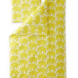 FINLAYSON ® Elefantti Juego de Funda nórdica y Funda de Almohada para bebés, algodón, Amarillo, 85x 125cm