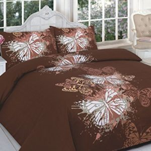clicktostyle - Juego de funda de edredón nórdico y fundas de almohada, algodón poliéster, mariposa marrón, matrimonio grande