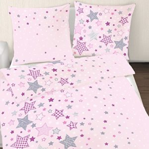 Franela Niña cama estrellas estrellas en rosa morado gris 2piezas–Tamaño 80x 80+ 135x 200cm–Fabricado en Alemania
