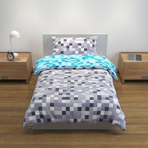 Bloomsbury Mill - Juego De Cama Reversible Con Diseño Pixelado Azul/Gris - Funda Nórdica y Funda De Almohada Individuales