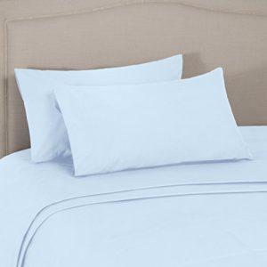 AmazonBasics Everyday - Juego de fundas de edredón nórdico y de almohada (100% algodón), Azul 200 x 200 cm & 2 fundas 50 x 80 cm