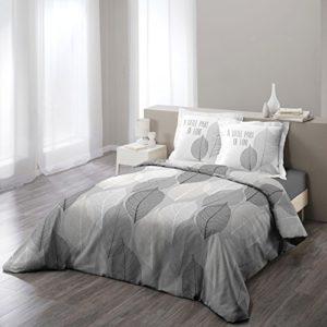 COTON D'INTERIEUR Algodón de interior solo juego con funda de almohada, algodón, gris, 240 x 260 cm
