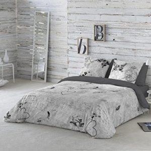 COTTON ART- Funda Nórdica DOS GARDENIAS GRIS Cama de 105 (180X260cm)+ 1 FUNDA DE ALMOHADA (45X120cm). ALGODÓN 100%. Disponible para cama de 90,105,135,150 y 180.