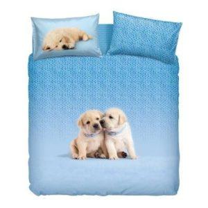Bassetti Colección La Natura.- Conjunto de funda nordica Soft Dogs Azul para cama de 90 cms (3 piezas)