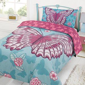 Dreamscene Juego de cama con diseño de mariposa para niños, de la marca, funda de edredón y fundas de almohada, color rosa, tamaño individual