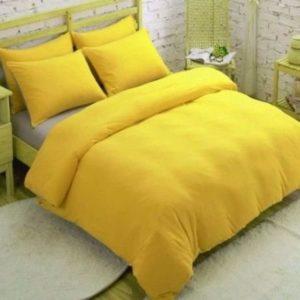 Juego de funda nórdica lisa con funda de almohada tamaño King Size - Amarillo