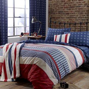 Catherine Lansfield Stars and Stripes - Sábana bajera (90 x 190 + 25 cm), diseño de barras y estrellas, color azul, rojo y blanco