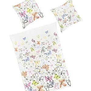 Bierbaum–Ropa de cama (2piezas, funda nórdica de 155x 220cm y almohada 80x 80cm flores Fraise