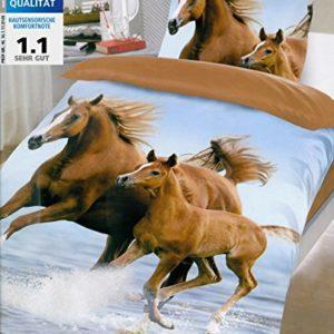 Brand sseller Cadena de Diseño de Animales Reversible de Cama de Microfibra Set Caballos Funda Nórdica: 135x 200cm, Funda de Almohada: 80x 80con Cremallera, Microfibra, Pferde2, 80x80-135x200