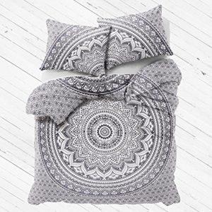 "Exclusivo Gris Ombre Mandala tamaño Queen funda de edredón con fundas de almohada por ""Indian creaciones"" Donna de la India diseño de flores Boho de cama. Colcha bohemio (gris)"