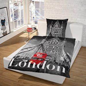 El limpiador de Force impresión fotográfica de sueño de ropa de cama; Diseño de Londres, 100% algodón, London Design Grau, 140x200+70x90cm