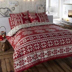 Homespace Direct Innsbruck - Juego de ropa de cama con funda para edredón y 2 fundas de almohada, de estilo escandinavo, de franela roja, para cama de matrimonio, de algodón cepillado