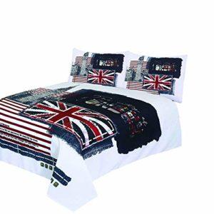 AR 's Panel de última diseño de lujo 3d impresión diseño de Londres polialgodón funda de edredón/juego de cama con fundas de almohada en tamaño doble y King Size, Doublé