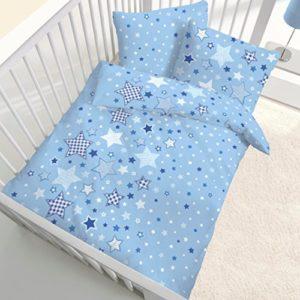 Franela Baby Cama estrellas estrellas color azul claro–tamaño 40x 60+ 100x 135cm–Fabricado en Alemania
