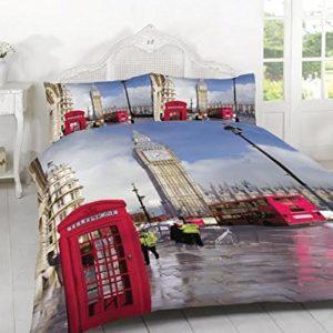 3 pc de edredón y fundas de almohada juego 3D todo el tamaño dormitorio Londres, 50% algodón/50% poliéster, matrimonio
