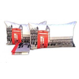 Funda nórdica con fantasías de la ciudad de Londres (cabina telefónica, Big Ben, etc...) apta para camas matrimoniales de 2 plazasDimensiones: 250 × 200 cm.
