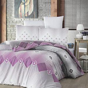 Juego de Funda de edredón de Lujo de 3 Piezas de Color Suave para Dormitorio 100% algodón Ranforce diseño de Rayas moradas y Negras, Forma Cuadrada Queen/Completo/Cama