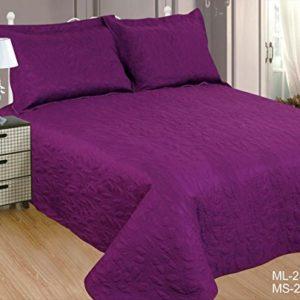 ForenTex- Colcha Boutí Cosida, (MS-2579), cama 90 y 105 cm, 190 x 260 cm, Morada, +1 cojín, colcha barata, set de cama, ropa de cama. Por cada 2 colchas o mantas paga solo un envío (o colcha y manta), descuento equivalente antes de finalizar la compra.