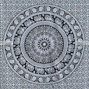 Doble funda india de edredón blanco y negro elefante Mandala Hippie bohemio funda Doona de almohada con por Fairdecor