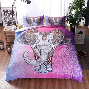Bohemio Mandala Elefante Juego de Cama 1 Funda de Edredón y 2 Funda de Almohada,Funda Nórdica de Edredón Estampada,Colcha Reversible 100% Poliéster 3 Piezas (175x218cm, Rosa)
