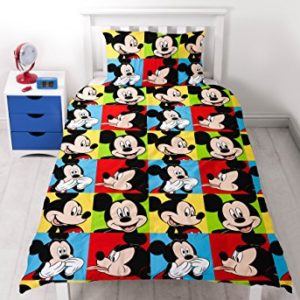 Disney Mickey Mouse - Juego de Cama de Mickey Mouse de Impresión Brillante, poliéster, Multicolor, Cama Individual