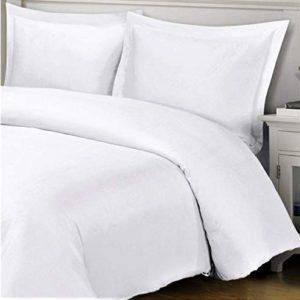 Cflagrant® Funda de edredón de 220x 2402personas + 2fundas 65x 65cm100% algodón plisada 57hilos Unie blanca