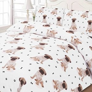 Dreamscene–lujosamente suave Animal Pug funda de edredón juego de cama con fundas de almohada, blanco, King