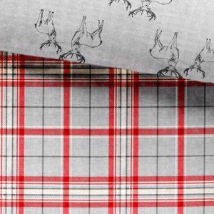 DND 'Ludlow' 100% Cepillado algodón Tradicional Cara a Cuadros y Ciervo inversa Juego de Funda nórdica para Cama Doble, Color Plateado