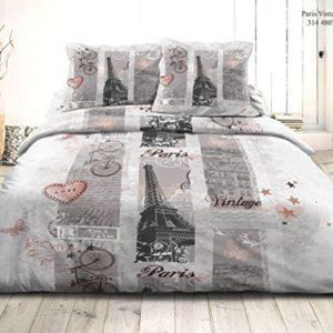 Juego de funda de edredón 3piezas microfibra para cama 2plazas (–Juego de edredón 3piezas–220x 240cm, Paris Vintage)