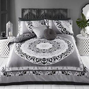 Juego de funda de edredón y funda de almohada de Pieridae, con estampado de mandala, tamaño king, color gris