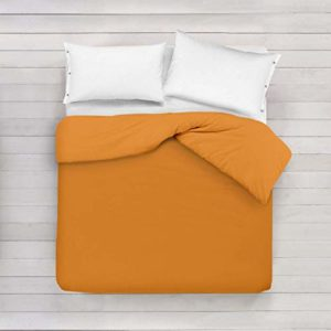 ADP Home - Funda nórdica Lisa, Calidad 144Hilos, 17 Hermosos Colores, Cama de 135 cm - Color: Naranja