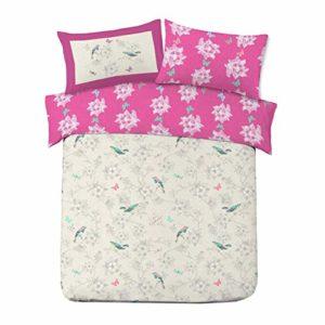 Dreamscene–Juego de funda nórdica con funda de almohada de jaula de pájaros de lujo, poliéster/algodón, rosa, doble