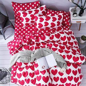 ED-Lumos Juego de Ropa de Cama 4Piezas para Cama 135-150cm Funda de Edredón 240x220cm Sábana 230x250cm Funda de Almohada 48x74cm Poliéster Color Rojo y Blanco con Corazón