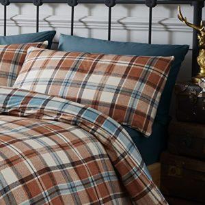 Catherine Lansfield Heritage Kelso Check Juego de funda nórdica, 100% algodón, marrón, Alla Francese, 250x 200x 1cm, 15Unidad