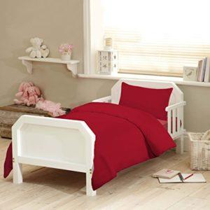 Adams Linens - Juego de funda nórdica y funda de almohada (100% algodón, 120 x 150 cm), color rojo