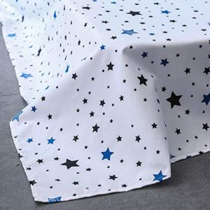 ED-Lumos Juego de Ropa de Cama 4Piezas para Cama 90cm Poliéster Funda de edredón 150x200cm Sábana 200x230cm Funda de Almohada 48x74cm Poliéster Color Azul Oscuro con Estrellas