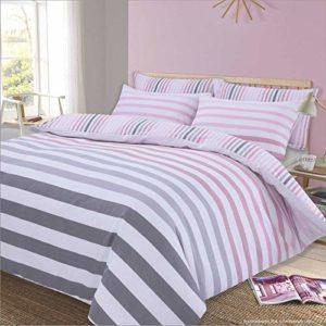 Dreamscene Fade Stripe Juego de Funda de edredón, polialgodón, 50% algodón, Color Rosa, Individual