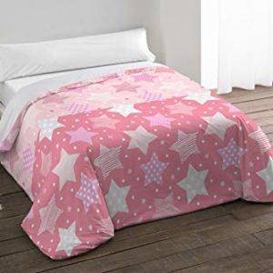 Camatex (Colección Kids) Funda Nordica 3 Piezas Estrellas Color Rosa para Cama 90CM Incluye Funda Nordica (155cm x 260cm), Bajera (90cmX190cm/200cm), Funda de Almohada (110cm x 45cm)