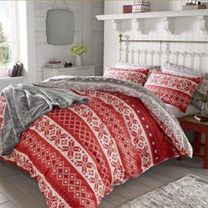 Dreamscene Funda nórdica con funda de almohada juego de ropa de cama, rojo, doble