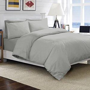Juego de ropa de cama Linengalaxy con funda nórdica, algodón egipcio de 200hilos, con fundas de almohada, Gris, matrimonio