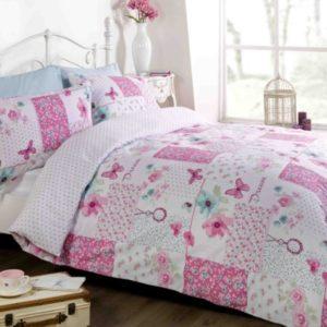 Art. Juego de funda de edredón y almohada, de poli algodón, diseño de parches color rosa, tamaño king